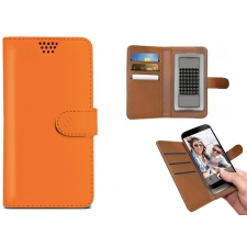 iPhone 8 Plus Bookcase van leer oranje XXL