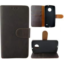 Motorola Moto E4 Plus 100% Leer Hoesje Zwart