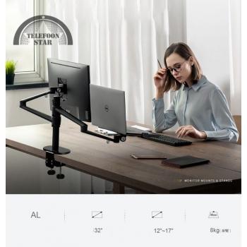 Monitor Houder Desktop Dual Arm 17-32 Inch Hoogte Verstelbare + 12-17 Inch Laptop Houder stand + Monitor beugel ook geschikt voor tablet en telefoon - Voor bureau bevestiging