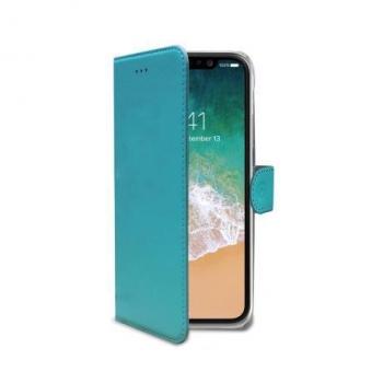 iPhone X Book Case Hoesje ECHT LEER Turquoise