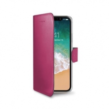 iPhone X Book Case Hoesje ECHT LEER Roze