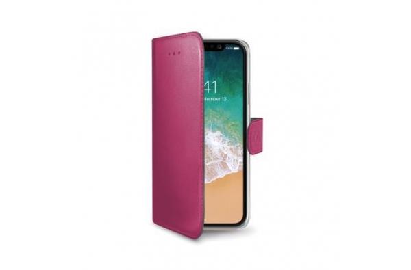 iPhone X Book Case Hoesje ECHT LEER Roze