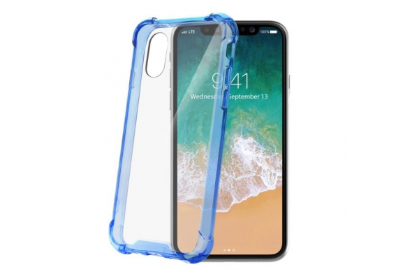 Celly Extra clear protection iPhone X Blauw