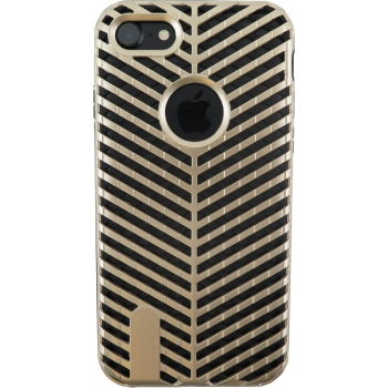 iPhone 8 Striped Bumper Hoesje 2 in 1 Goud