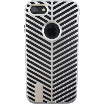 iPhone 8 Striped Bumper Hoesje 2 in 1 Grijs