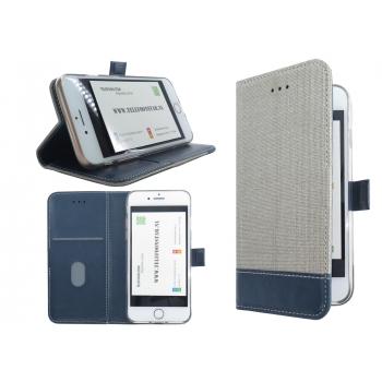 Iphone 7 textiel en blauw leer