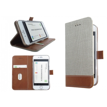 Iphone 7 textiel en licht bruine leer