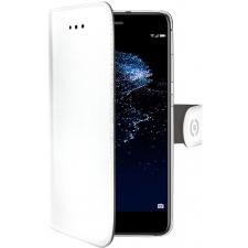 Huawei P10 Lite Boek hoesje Echt leer Wit