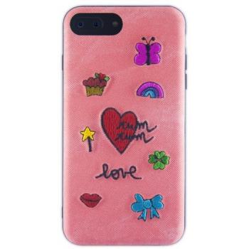 iPhone 7/8 hoesje met stoffen achterkant in Roze