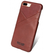 iPhone 8 Plus Origineel Luxe Back Cover 100% Leer Licht Bruin
