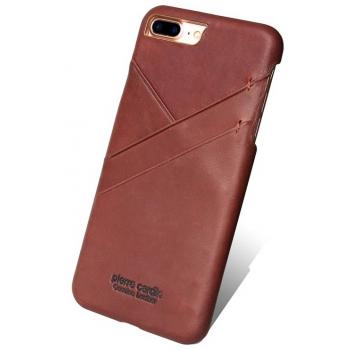iPhone 7 Plus Origineel Luxe Back Cover 100% Leer Licht Bruin