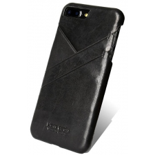 iPhone 7 Plus Origineel Luxe Back Cover 100% Leer Zwart