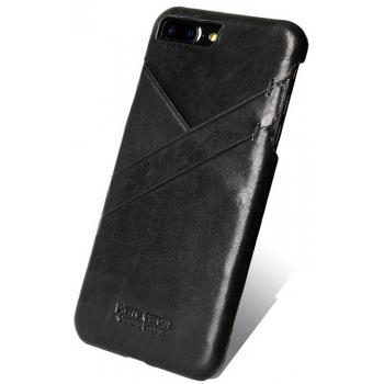 iPhone 7 Plus Origineel Luxe Back Cover 100% Leer Zwart