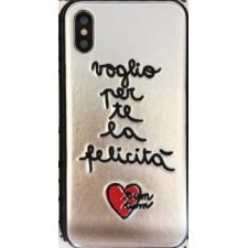 iPhone X hoesje Echt leer Zilver 'La vita é bella'