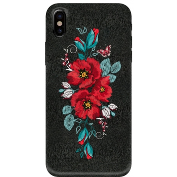 iPhone X hoesje Echt leer 'Rode Bloemen'