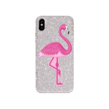 iPhone X hoes siliconen Glitter Flamingo