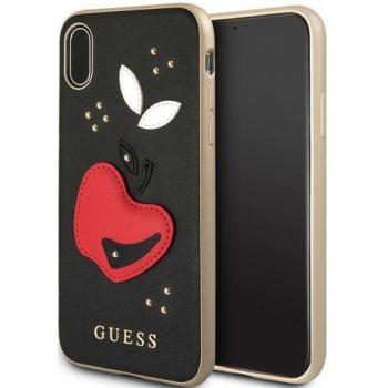 iPhone X leren achterkant hoesje met rode appel