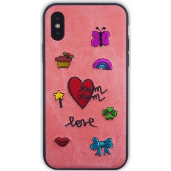 iPhone X hoesje met stoffen achterkant in Roze