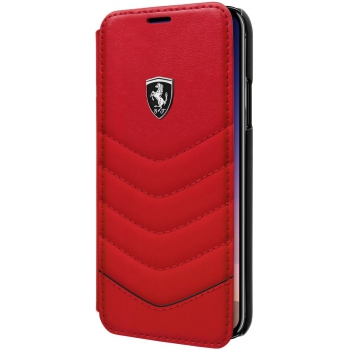 iPhone X boek model hoesje Echt leer in Rood Logo Ferrari