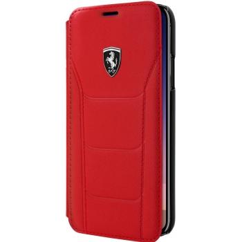 iPhone X boek model hoesje Echt leer in Rood Ferrari Logo