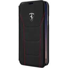 iPhone X boek model hoesje Echt leer in Zwart Ferrari Logo