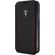iPhone X boek model hoesje Echt leer in Zwart Ferrari Logo