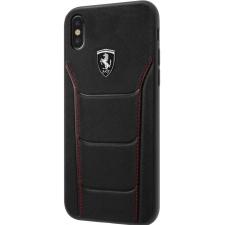 iPhone X hoesje Echt leer Ferrari Logo in Zwart