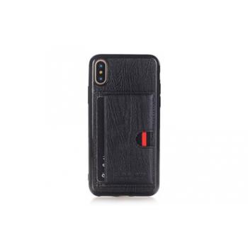 iPhone X Back cover Echt leer Zwart met Kaarthouder