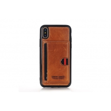 iPhone X Backcover van Pierre Cardin Echt leer in Bruin