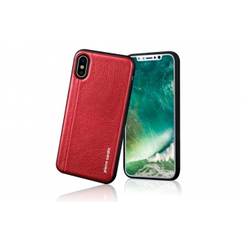 iPhone X Back cover Pierre Cardin Echt leer Rood