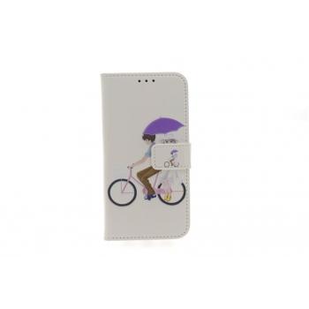 iPhone X 'Fietsend in de regen' Print booktype hoesje
