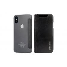 iPhone X Bookcase Echt leer met Siliconen achterkant Zwart