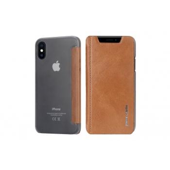 iPhone X Bookcase Echt leer met Siliconen achterkant Bruin