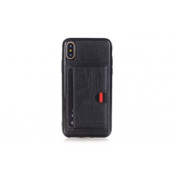 iPhone X backcover Pierre Cardin Echt leer in Zwart
