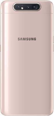 Galaxy A80 in Angel Gold seen from the rear.
