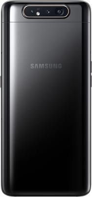 Galaxy A80 in Phantom Black seen from the rear.