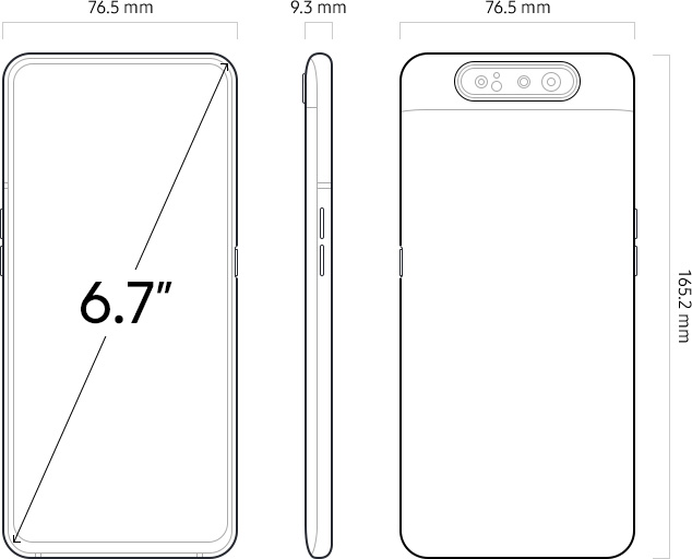 Illustration of Galaxy A80 from the front, volume button, and rear sides.
